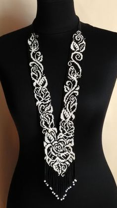 """Your place to buy and sell all things handmade - Gerdan """"Monochrome"""", Traditional Ukrainian nacklace, Handmade jewelry Sie sind an der richtigen - Diy Jewelry Unique, Diy Jewelry To Sell, Handmade Jewelry, Jewelry Crafts, Bead Embroidery Jewelry, Beaded Jewelry Patterns, Bead Loom Patterns, Beading Patterns, Pandora Charms"""