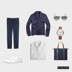 ** MENS OUTFIT IDEAS #70 ** The navy knit shawl by Todd Snyder will be in heavy rotation for the coming seasons. In this outfit, we've paired it with navy chinos and a crisp whit...