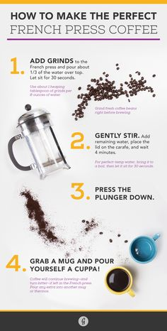 Could Coffee Taste Any Better? Yes, and Here's How French Press Coffee. This looks fun to try out. I only need to find a coffee press. I Love Coffee, My Coffee, Coffee Drinks, Coffee Cups, Coffee Time, Bunn Coffee, Coffee Truck, Espresso Coffee, Starbucks Coffee