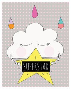 SUPERSTAR PRINT  Kids Art  Nursery decor by simplymeandher on Etsy
