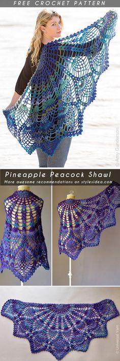 Pineapple Peacock Shawl Free Crochet Pattern  #crochetshawl #freecrochetpatternsforshawl #crochetpattern #shawl