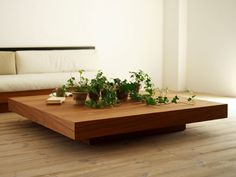 Love this beauty of a coffee table from Hiromatsu Furniture Inc. Coffee Table Plants, Coffee Table Decor Living Room, Center Table Living Room, Low Coffee Table, Decorating Coffee Tables, Coffee Table Design, Living Tv, Home Living Room, Luxury Italian Furniture