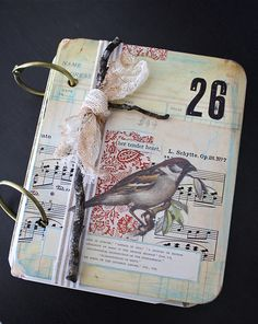 Love the bird theme cover & twig.for a mini art journal. Journal Covers, Art Journal Pages, Art Journals, Scrapbooking, Scrapbook Albums, Altered Books, Altered Art, Art Doodle, Collages