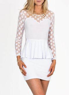 polkadot mesh peplum dress
