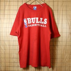 Champion チャンピオン USA製 90s 古着 Tシャツ レッド 半袖 NBA BULLS ブルズ メンズL