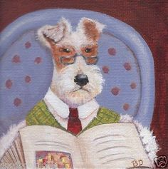 NFAC-Wire-Fox-Terrier-and-Book-Original-Painting-Acrylic-SFA-Small-Size-4-x-4