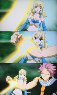 Natsu protecting Lucy!!!