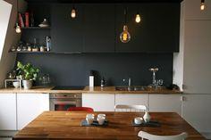 Renovation of an Apartment in Paris by Atelier DCCP White Kitchen Worktop, Grey Kitchen Cabinets, Kitchen Dining, Kitchen Black, Küchen Design, House Design, Diy Interior, Interior Design, Cabinet Makeover