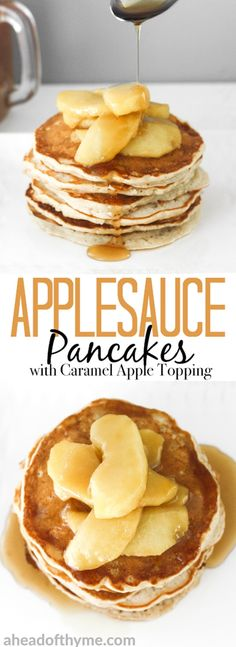 There is no better way to use up leftover applesauce than by making fluffy applesauce pancakes with caramel apple topping! It is the perfect fall breakfast! | aheadofthyme.com via @aheadofthyme