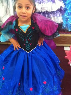 Princess Ana Anna Frozen disney Elsa dressup costume dress ball gown flower girl glitz pageant outfit  La Reine des neiges quinceanera