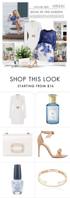 """Relax In The Garden"" by thewondersoffashion ❤ liked on Polyvore featuring Draper James, Versace, Monique Lhuillier, Shay & Blue, Roger Vivier, Alexandre Birman, OPI and Delfina Delettrez"