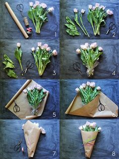 Pull together bouquets with wrapping paper to repurpose leftover holiday stuff.