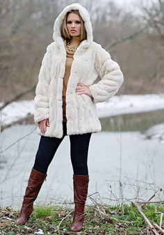 Ivory Mink Faux Fur Couture Hooded Jacket