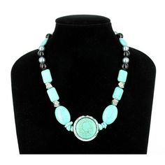 Turquoise & CCB Silver Tone Bead Necklace $18.00