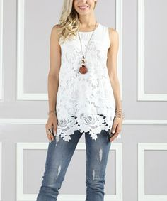 Look what I found on #zulily! White Floral Lace Tank - Plus Too #zulilyfinds