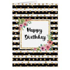Sparkle Stripe Birthday Card - birthday gifts party celebration custom gift ideas diy
