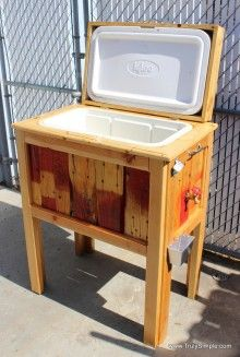 Turned a broken cooler and an old pallet into a cool new cooler stand