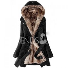$31.49 Long Sleeves Hooded Thickened Faux Fur Lined Waistband Beam Waist Pockets Korean Style Casual Women's Coat