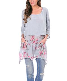 Gray Floral-Accent Linen-Blend Layer Tunic