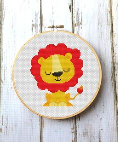 Lion Nursery Baby Cross Stitch Pattern Modern Cross Stitch