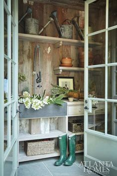 Note the removable wooden box encasing the plumbing under the sink -- An Elegant Atlanta Estate - The Glam Pad Garden Shed Interiors, Garden Sheds, Potting Tables, Pergola, Potting Sheds, Atlanta Homes, Layout, White Houses, House And Home Magazine