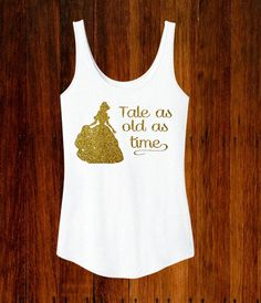 Belle Beauty & The Beast Inspired Glitter Women's Tank Disney World Land Vacation Tank Tale As Old As Time