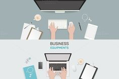 Office object business activity flat by VectorMarket on Creative Market
