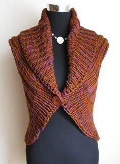 Free Knitting Pattern for Shawl Collar Vest - This easy circle vest by Jennifer Miller can also be knit short as a shrug. Quick knit in chunky yarn. Great for multi-color yarn. Pictured project by Telse