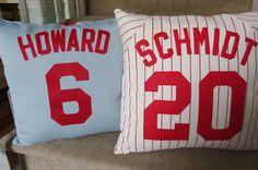 Perfect for sports theme bedroom!!! @Lindsay Dillon risinger. Do ya'll still have ya'll risinger shirts. I can make throw pillows :)
