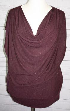 Lane Bryant Sleeveless Sparkly Drape Neck Knit Top Size 26 28 NWT #LaneBryant #KnitTop #Versatile