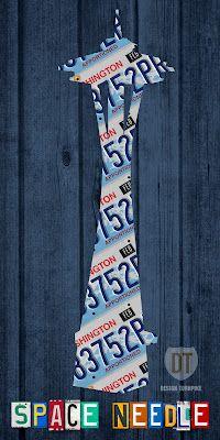 Space Needle License Plate Art—Seattle, Washington.