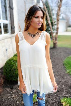 Cream Lace Detail Tank - Dottie Couture Boutique