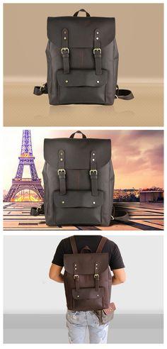 Handmade Vintage Leather Backpack Rucksack School Backpack