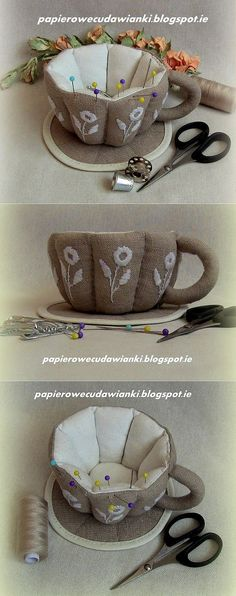 Awesome tea cup pincushion. It's on a Russian site, no tutorial, but great for inspiraion!