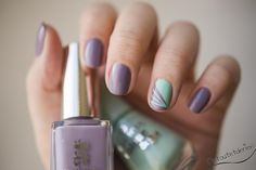 Lovely spring manicure, purple and dusty turqouise
