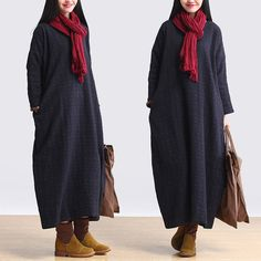 women cotton linen loose fitting long sleeve autumn and spring maxi dress plus size clothing buykud