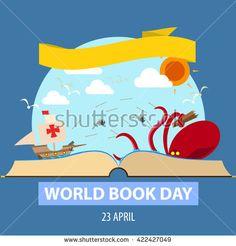 World book day cartoon design illustration