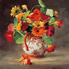 Marigolds and Nasturtiums | Mill House Fine Art – Publishers of Anne Cotterill Flower Art
