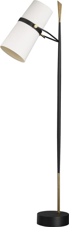 A lot of personality lights up the room with this medieval-modern floor lamp crafted in antiqued brass and black iron. Slender mixed metal base rises spear-like from its offset pedestal, ending in a (Mix Feelings Pictures)