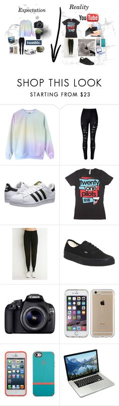 """""""Expectation VS Reality - Me"""" by grxngeghxst ❤ liked on Polyvore featuring WithChic, adidas Originals, Forever 21, Vans, Eos and Speck"""
