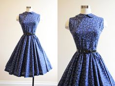 50s Dress - Vintage 1950s Dress - Blue Black Aqua Novelty Print Cotton Princess Full Skirt Sundress S M - Polka Dot Trees