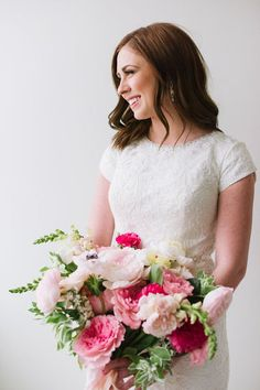 Gorgeous pink peony wedding bouquet via J.Taylor Photography - Deer Pearl Flowers / http://www.deerpearlflowers.com/wedding-bouquet-inspiration/gorgeous-pink-peony-wedding-bouquet-via-j-taylor-photography/