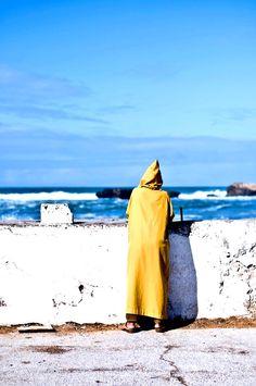 Atlantic Coast, Morocco. Yellow Man Djellaba