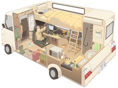 small & tiny home ideas - Kei Camping Cars of Japan Auto Camping, Camping Diy, Camping Hacks, Art Isométrique, Caravan Renovation, Van Home, Isometric Art, Van Living, Environment Design
