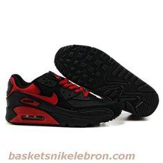 the best attitude 4bca8 95fd3 Pas cher Air Max Femme Noir Rouge Chaussure Nike Air Max 90 Chaussures Nike  Lebron,