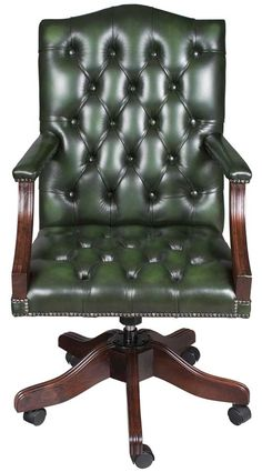 style swivel leather desk chair green leather