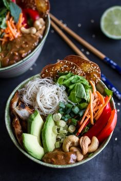 Vietnamese Chicken, Avocado + Lemongrass Spring Roll Salad With Hoisin Crackers | halfbakedharvest.com