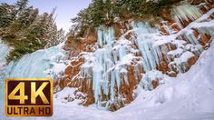 2.5 HRS - Winter Waterfall in 4K   Ambient Music & River Sounds - Frankl...