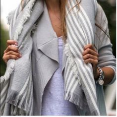 Beautiful blanket scarf Striped blanket scarf fabulous gray and white stripe NWT Vivacouture Accessories Scarves & Wraps