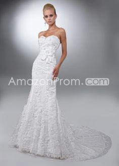 Elegant trumpet mermaid sweetheart floor length chapel lace wedding dresses